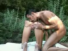 Beautiful slim babe fucks in forest