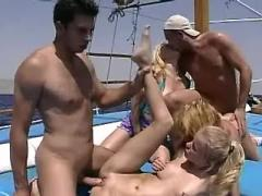 Navy girls eat and swap cum on yacht
