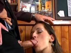Waitress catching cum flow in mouth