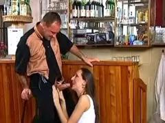 Waitress fucked and facialized in bar