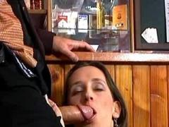 Lewd waitress fucks on floor in bar