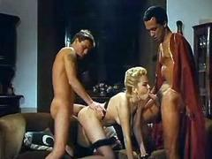 Two guys and amazing pretty blonde gangbang on camera