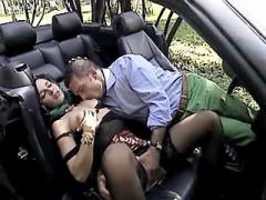 Road whore in black stockings sucks and fucks near car