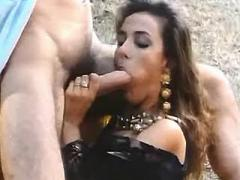 Girl throats and gets spraying facial in nature