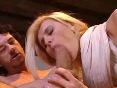 Cute blonde gets her ass and mouth stuffed in orgy