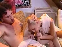 Two dudes screwing passionate blonde on the floor