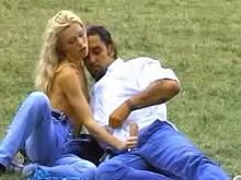 Slim longhaired blonde making wild sex on grass