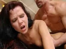 Hot brunette catching messy facial after deep anal