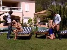 Two ardent babes ride their boyfriends on vacation