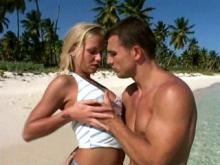 Sexy blonde with perfect body gets facial on beach