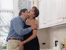 Sex addicted housewife fucking husband in kitchen