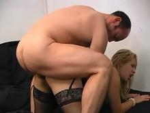 Yummy blonde gets facial after boisterous anal sex