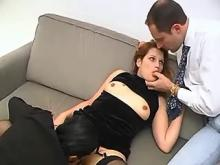Redhead girl with bisexual girlfriend suck hungry man