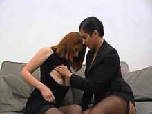 Cute lezzie fucking with oversexed redhead on sofa