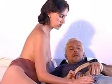 Grizzled man fucks oversexed brunette in all poses