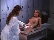 Frolicsome nurse fucks shameless girl in checkroom