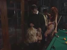 Two horny couples fucking on billiard table and jizz