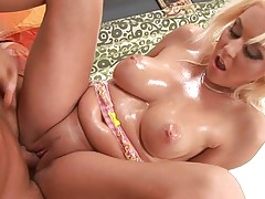 Blonde girl showing her worthy firm boobs and tight fur pie