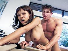 Ebony teen Lacey with major nice tits gains fucked very hard!
