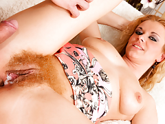 Anita Vixen has her blonde hairy fur pie creampied by George