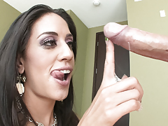 Lyla Storm nearly drowns on a sea of cum after engulfing pecker