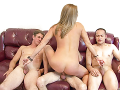 Horny blonde milf getting between a gang of hard cocks!