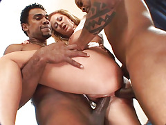 Hoe Accepts Her Ass Drilled By 2 Big Black Dicks & Accepts Cumshot