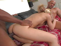 Horny Golden-haired Takes 2 Big Black Cocks & Gets Fucked Hardcore