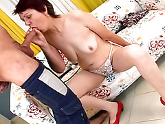 Sexy sick granny has her amateur doctor creampie her old love-cage