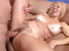 Blonde mama with admirable tits & a furry pussy receives fucked!