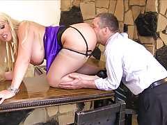 Major titted blonde MILF plays the dominatrix in this scene !