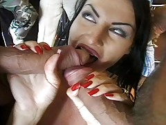 Ebony haired babe get fuck tough by five men after her dance