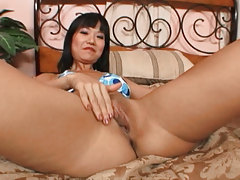 Asian girl with nice love melons is just drooling to swallow a cock!