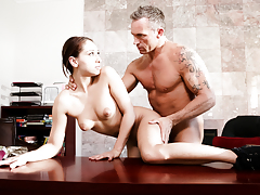 Horny student Sara Luvv texts her patriarch into intense sex