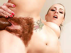 Brunette with unbelievable body and mega bushy pussy owned hard