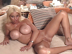 Blonde girl with big love bubbles act an audition for porn movie