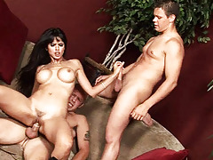 Pine for haired hottie fucking 2 gay studs in hardcore 3some