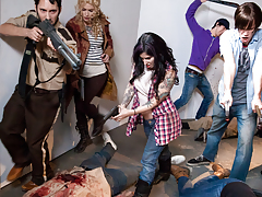 Zombie walkers get fucked to death with loads of man sperm !