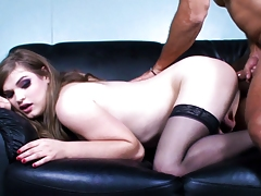 Untamed Tiffany Bends over Over To Taste The Dude's Scrotum On Her Balls