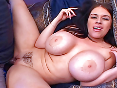 Hoe With HUGE Apples Attains Her A-hole Drilled And Pussy Creamed