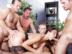 Hot and horny brunette Simone Style is fucked by 4 big schlongs