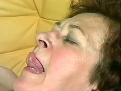 Mature is drilled on sofa