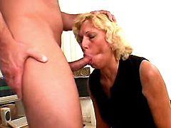 Blonde mature sucks cock