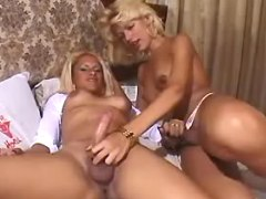Two blonde shemales relax