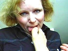 Horny mom sucks big dick