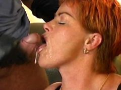 Milf gets facial in group