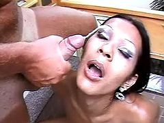 Hot tgirl gets facialized