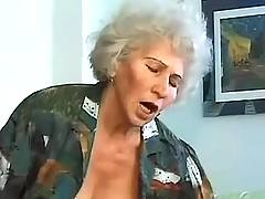Granny rides young dick