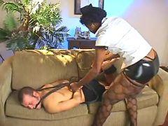 Shemale mouthfucks slave