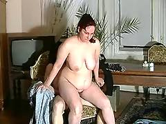 Fat mom blows young dude